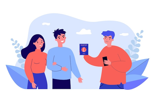 Young man showing passport to couple. flat vector illustration. registration of foreign, international, vaccination passport for travel, work. documentation, travel, immunity concept for banner design