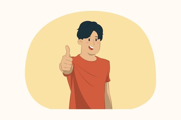 Молодой человек показывает большой палец вверх концепции