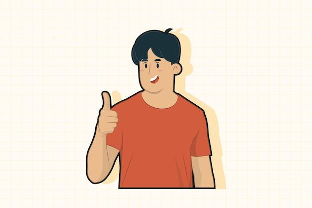 Молодой человек показывает палец вверх жест концепции