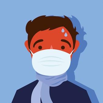 젊은 남자 아픈 입고 의료 마스크 문자