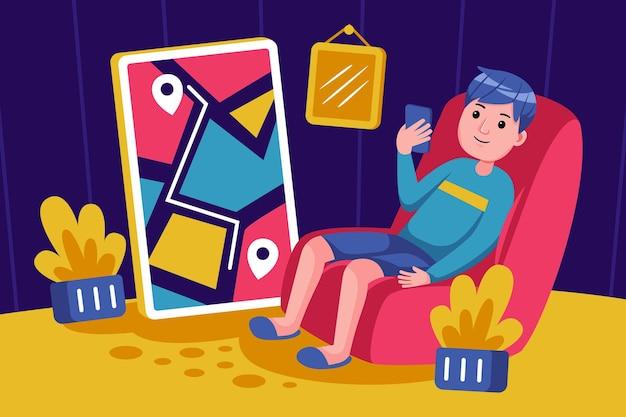 Молодой человек сидит, чтобы покупать продукты со смартфоном
