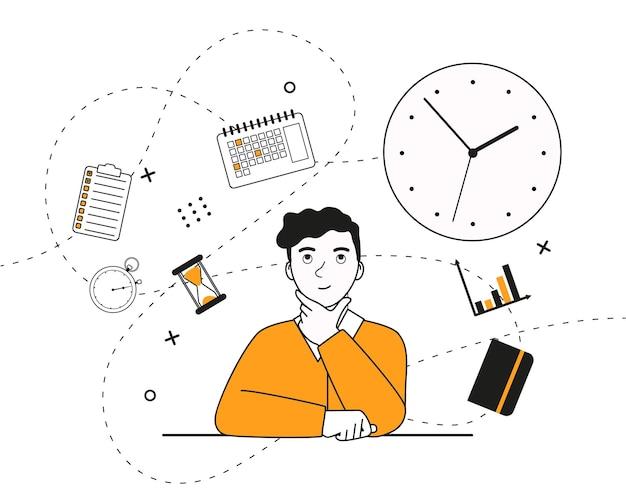 若い男が座って、時間管理のトピックを振り返るフラットベクトルイラスト