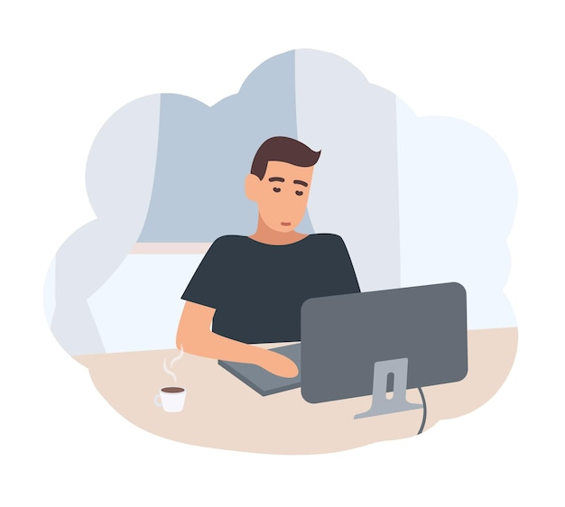 机に座って、コンピューターでインターネットサーフィンをしている若い男。夕方に家で過ごす男性キャラクター。普通の人の日常の様子。フラット漫画スタイルのベクトルイラスト。