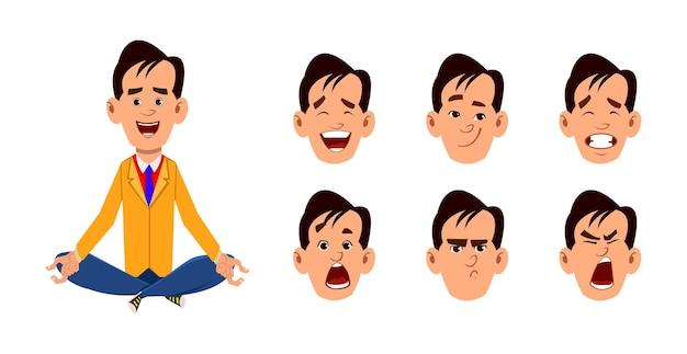 Молодой человек, сидящий в позе медитации или йоги. молодой человек персонаж с разным типом выражения лица.
