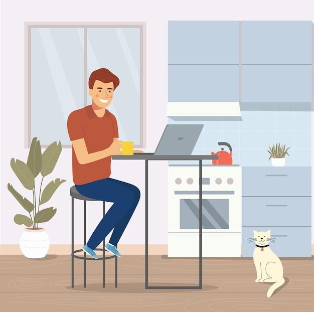 젊은 남자는 의자에 앉아서 부엌에서 노트북으로 일하고 있습니다. 벡터 평면 그림