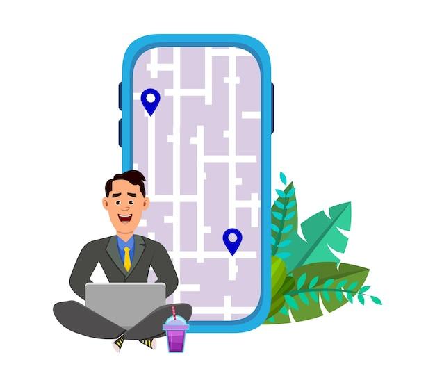 야외에 앉아서 경로와 위치를 확인하는 젊은 남자. 지도와 함께 모바일 및 컴퓨터 응용 프로그램 사용 .