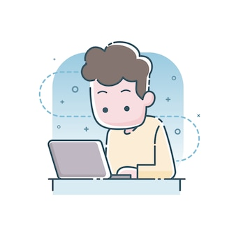 Young man sitting and working on laptop computer