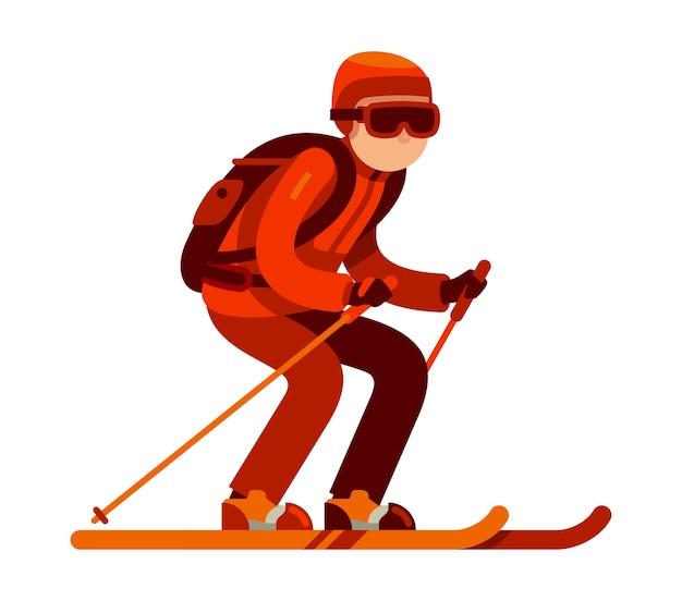 Молодой человек катается на лыжах в снег