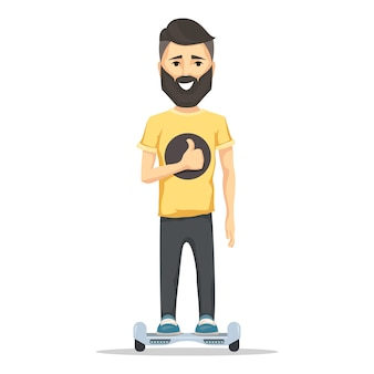 Young man smiling with beard on hoverboard.
