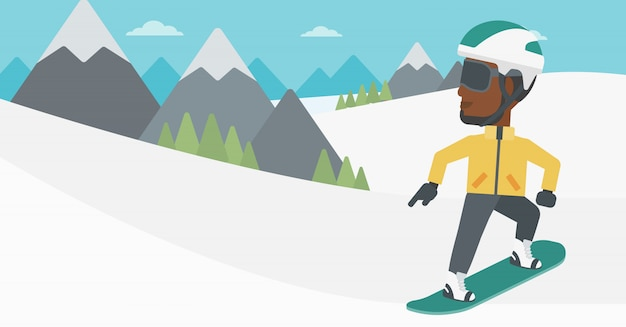 Young man snowboarding vector illustration.