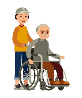 Young man social worker strolling older man in wheelchair flat style