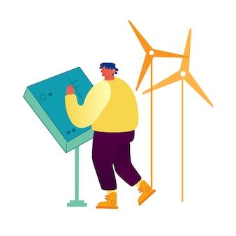 Молодой человек стоит за пультом управления работой ветряных мельниц
