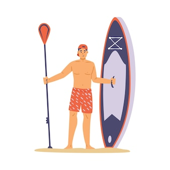 Young man stand on beach and hold paddle board a vector illustration