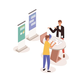 Young man standing near promotional stand, talking to promoter, seller or consultant and tasting drinks or beverages. people at fair, festival or marketplace. colorful isometric vector illustration.