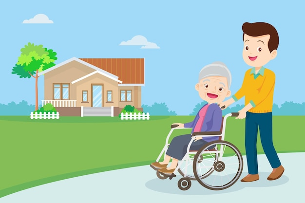 Young man strolling with elderly woman in wheelchair
