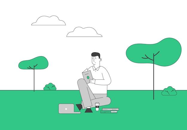 젊은 남자 학생 태블릿 학습 숙제와 함께 앉아