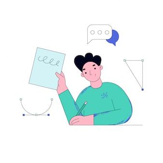 온라인으로 공부하는 젊은 남자. 학생 숙제. 온라인 교육 개념 그림.