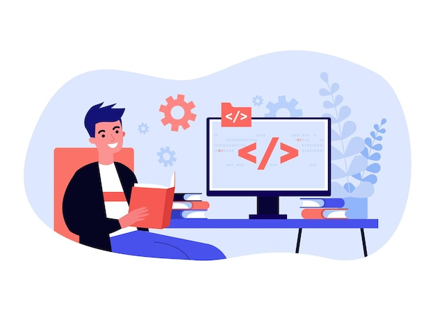 プログラミング言語を勉強している若い男。フラットベクトルイラスト。画面にバイナリコードを表示してコンピューターの前に座って、本を読んでいる男。デザインのプログラミング、教育、学習の概念
