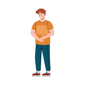 Young man suffering from abdominal pain a vector isolated illustration