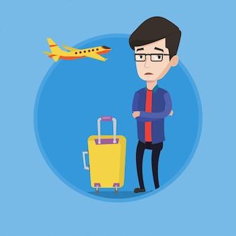 비행의 두려움으로 고통받는 젊은 남자.