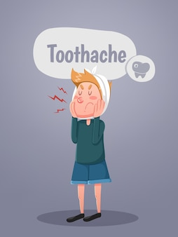 Young man suffers from tooth ache. vector illustration