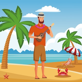 Young man in summer time cartoon