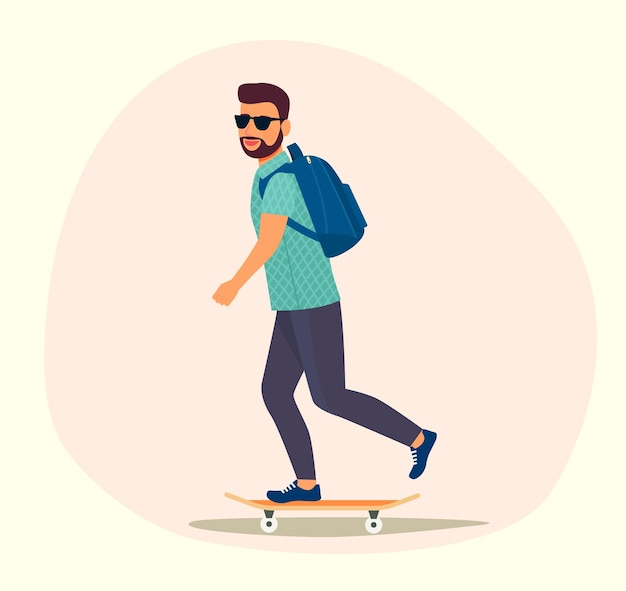 Young man in sunglasses riding a skateboard isolated. vector illustration