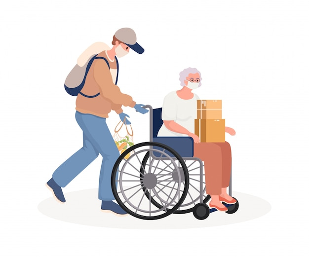 Young man supporting and caring disabled old woman on wheelchair flat cartoon illustration.