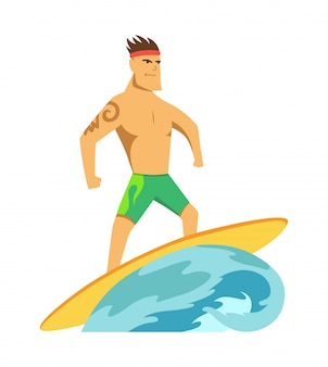 Young man surf boarder riding a surfboard in the wave vector illustration