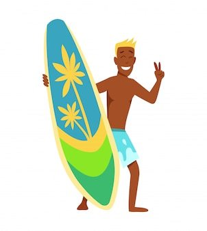Young man surfboarder with surfboard and sunglasses