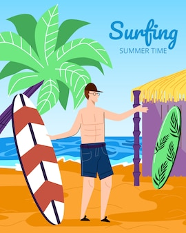 Young man surfer holding surf board on sandy beach illustration