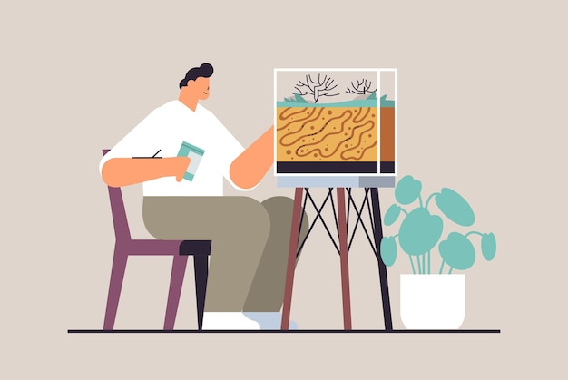 Young man taking care of ant farm guy feeding ants in formicarium domestic insects concept full length horizontal vector illustration