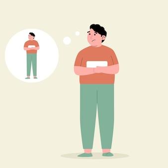 若い男は体重を減らして痩せる方法を考えています