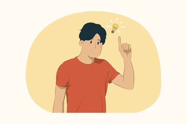 젊은 남자 생각 하 고 개념을 검지 손가락을 가리키는
