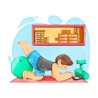 Молодой человек тренируется дома