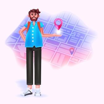 도시 지도 여행 개념에 gps 탐색 경로 포인터가 있는 젊은 남자 여행자