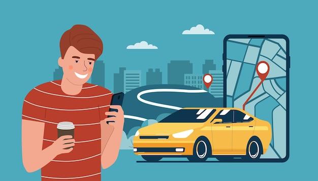 若い男性は、スマートフォンでレンタカーやタクシーのサービスを利用しています。ベクトルイラスト。