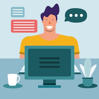 Young man using desktop connecting technology character vector illustration design