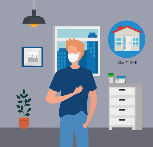 Молодой человек, используя маску для пандемии covid19