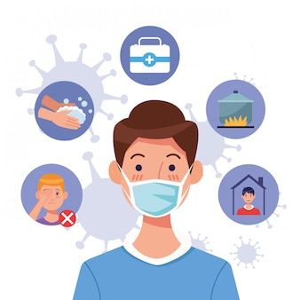 Young man using face mask with covid19 set icons