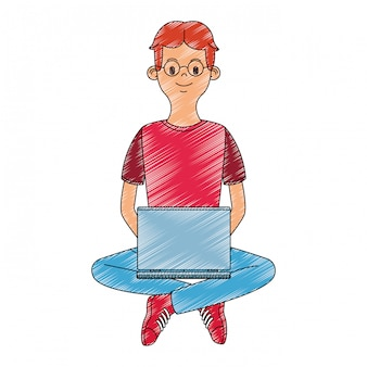 Young man using laptop scribble