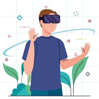 Молодой человек, использующий устройство технологии виртуальной маски реальности с листьями