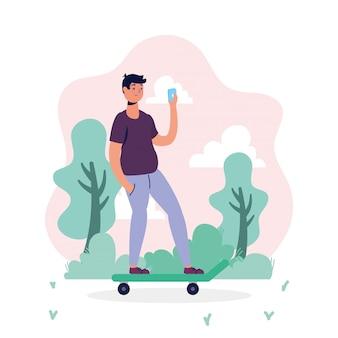 스케이트 보드에 스마트 폰을 사용 하여 젊은 남자