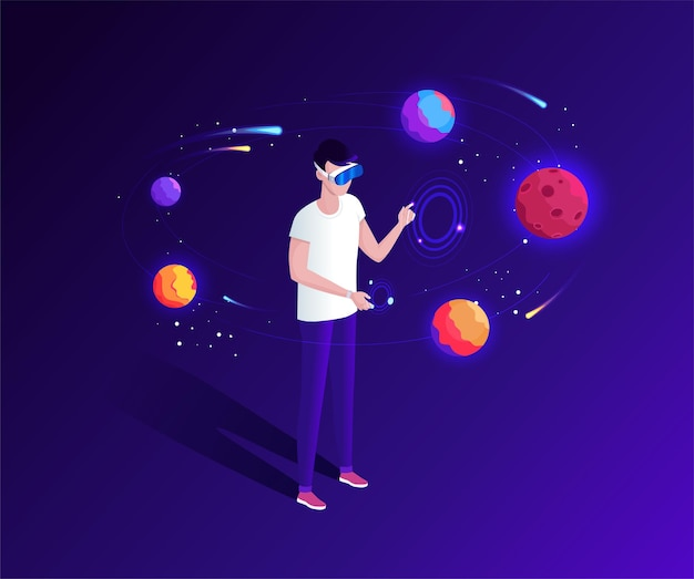 Young man using a virtual reality glasses for space travel