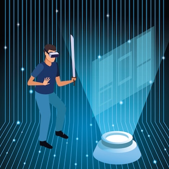 Young man using virtual reality technology