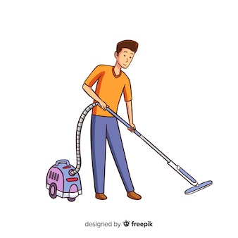 Young man vacuuming illustrated