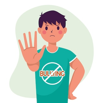 Young man victim of bullying with hand stop and signal character