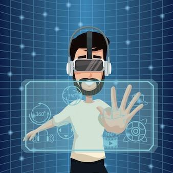Young man virtual reality wearing goggle smart tehcnology