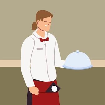 유니폼 들고 트레이 일러스트 디자인으로 젊은 남자 웨이트리스