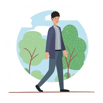 Young man walking on the park avatar character